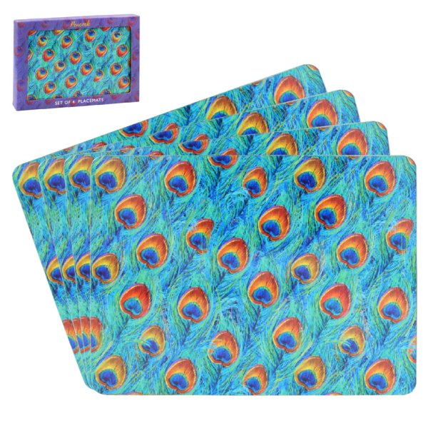 PEACOCK PLACEMATS SET OF 4