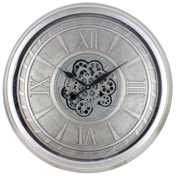 SILVER MOVING COG CLOCK 80CM