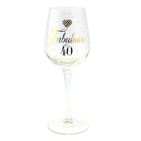 MAD DOTS FAB AT 40 WINE GLASS