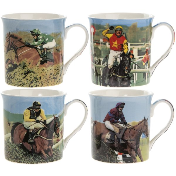RACE HORSES MUGS SET OF 4