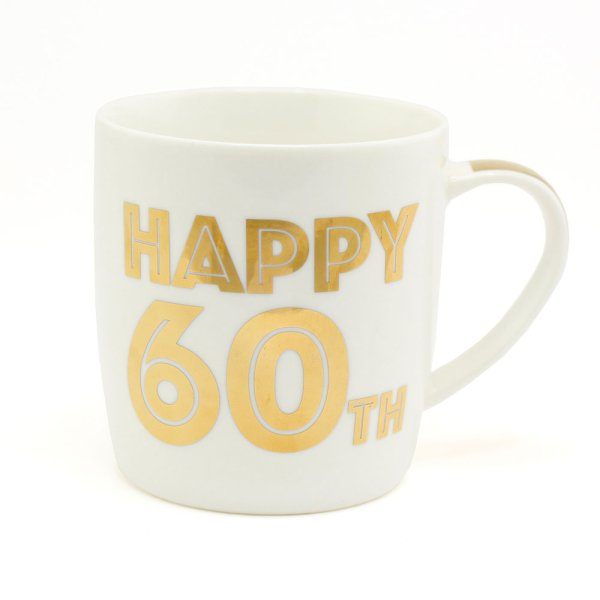 GOLD HAPPY 60TH BIRTHDAY MUG