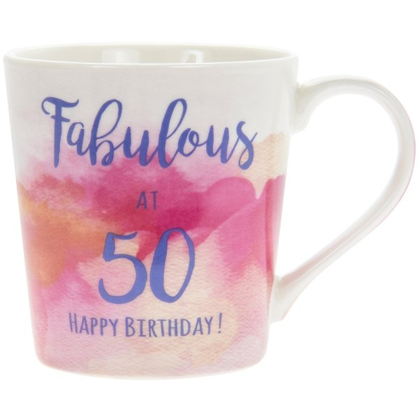 WATERCOLOUR HAPPY 50TH MUG