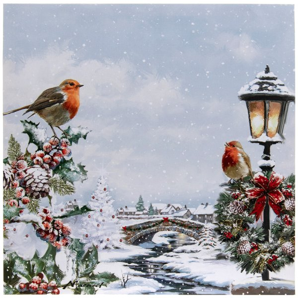 CHRISTMAS ROBINS LED CANVAS