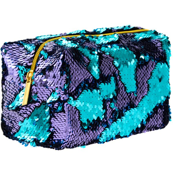 SEQUIN COSMETIC BAG TURQ&PURP