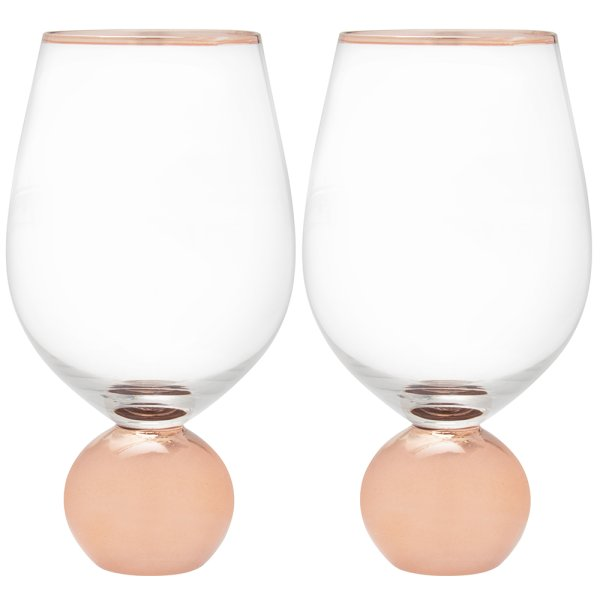 ROSE GOLD STEMLESS WINE GLS S2