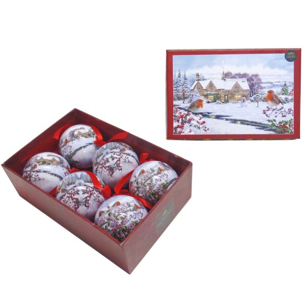 ROBINS BAUBLES SET OF 6