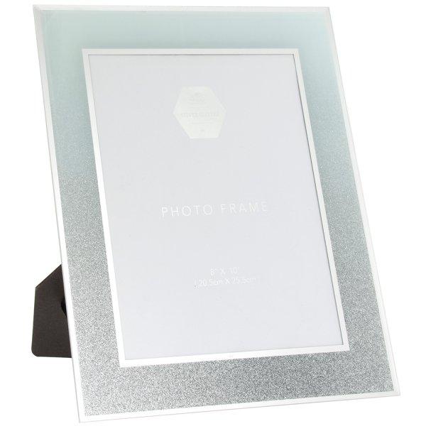 WHITE & SILVER GLIT FRAME 8X10