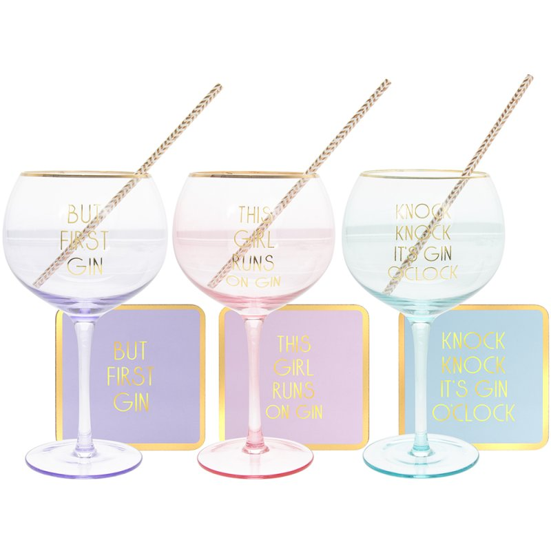 LET'S PARTY GIN GLASS SET