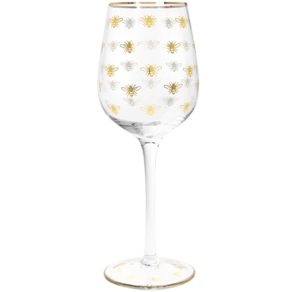 GOLD BEES WINE GLASS