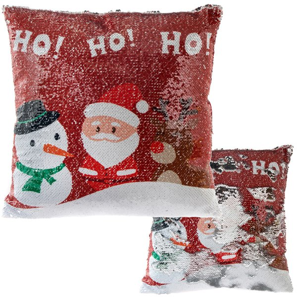 SEQUIN CUSHION XMAS HO HO HO