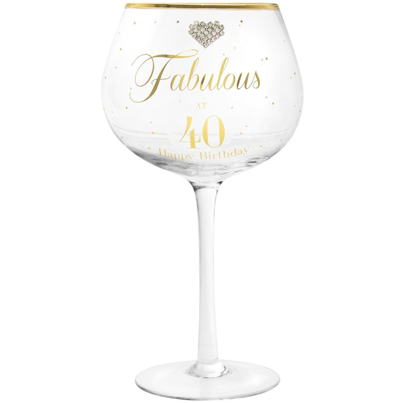 MAD DOTS GIN GLASS HAPPY 40TH