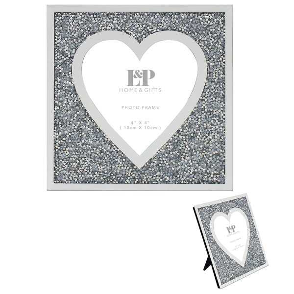 MULTI CRYSTAL HEART FRAME 4X4""