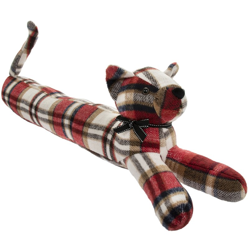 RED CHECK CAT DRAUGHT EXCLUDER