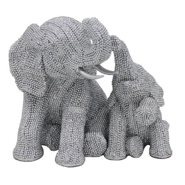 SILVER ART ELEPHANTS SITTING