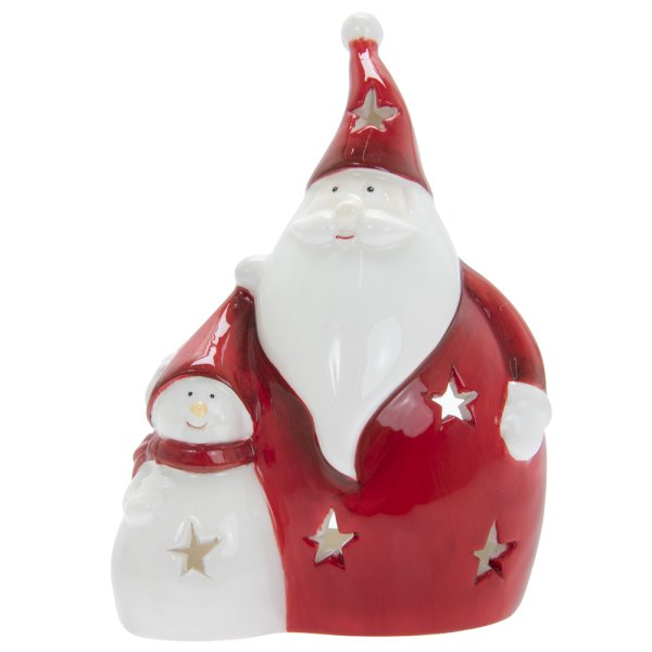 SANTA WITH SNOWMAN RED