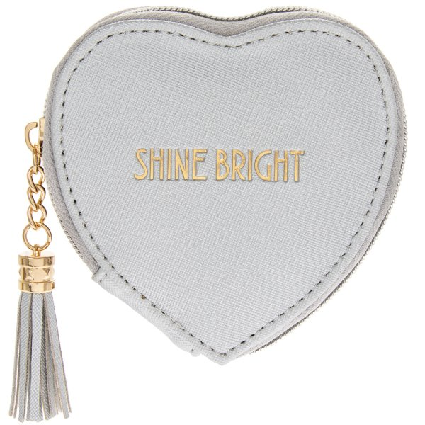 SHINE BRIGHT SILV HEART PURSE
