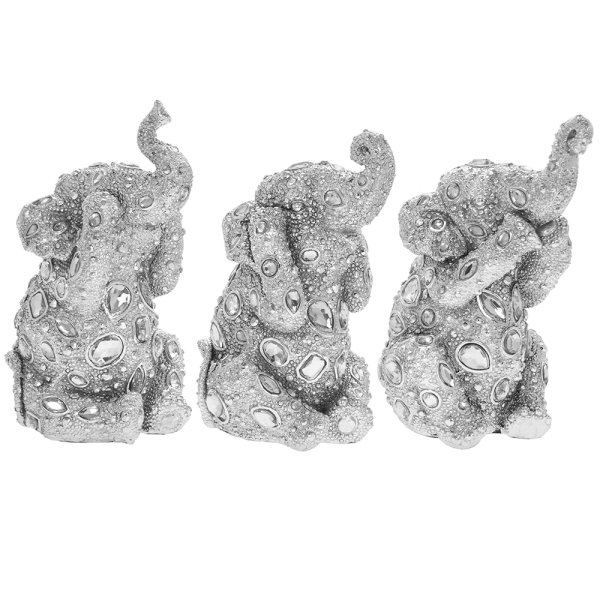 SILVER ART DIAMANTE ELEPHANTS