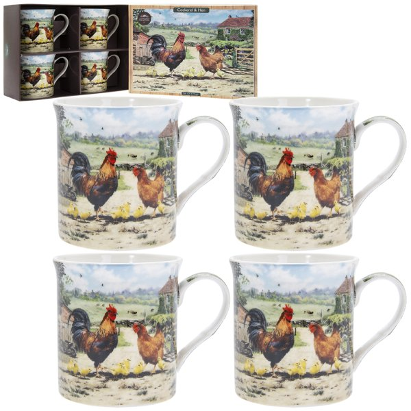 COCKEREL & HEN MUGS SET OF 4