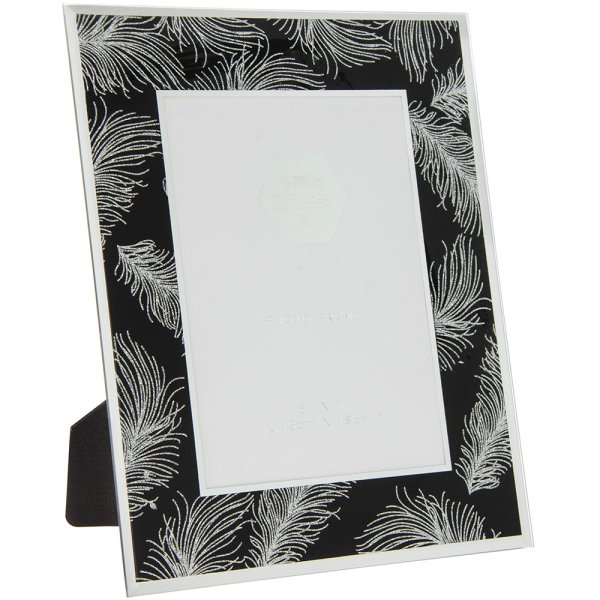 SIL FEATHER BLK MIRR FRAME 5X7