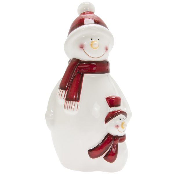 SNOWMAN WHITE & RED LGE