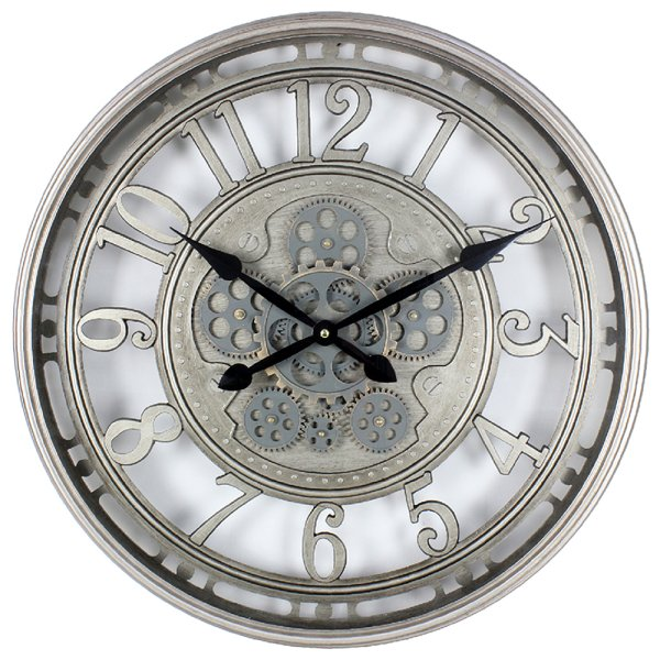 SILVER MOVING COG CLOCK 54CM