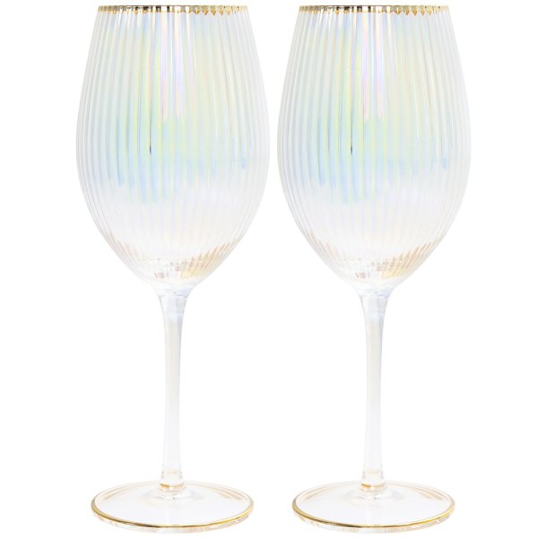 LUSTRE RIBBED WINE GLASS SET2