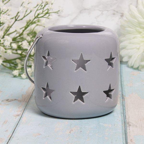 STARS LANTERN GREY 10CM