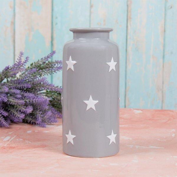 GREY & WHITE STARS VASE S