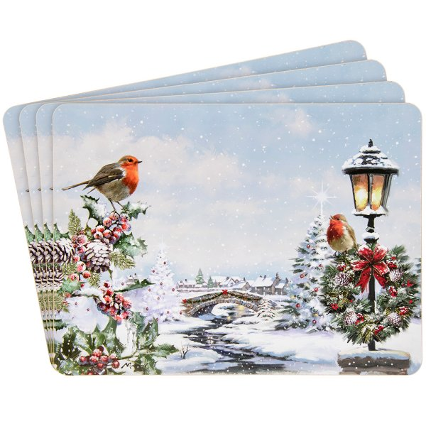 CHRISTMAS ROBINS PLACEMATS 4S