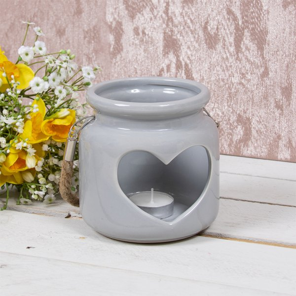 HEART CANDLE HOLDER GREY 12CM