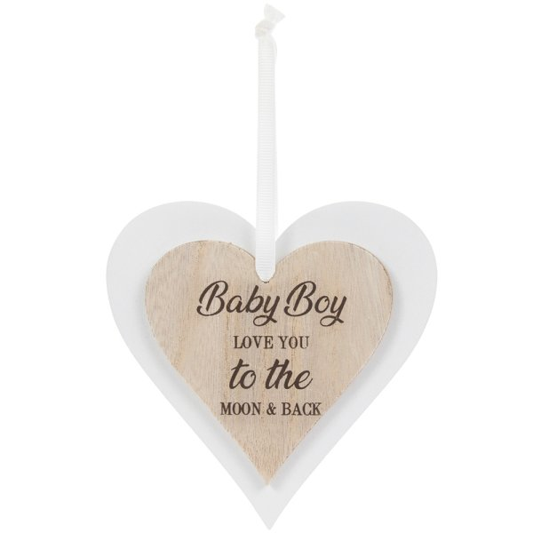 DBL HEART PLAQUE BABY BOY