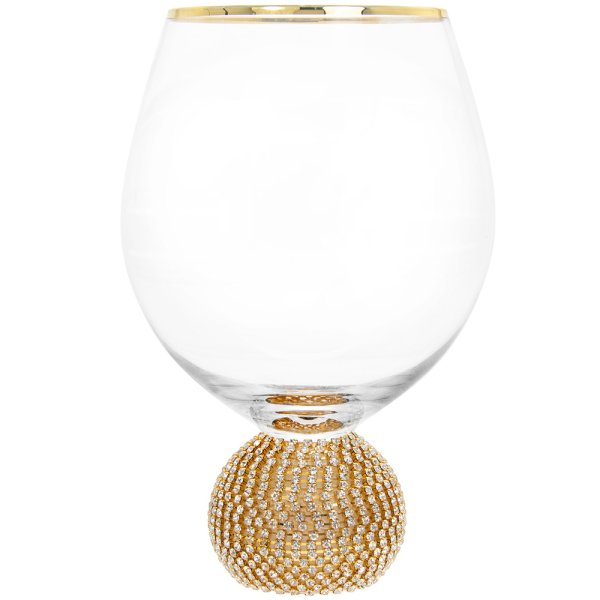 DIAMANTE GOLD STEMLESS WINEGLS
