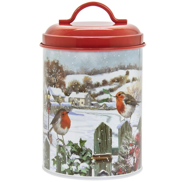 CHRISTMAS ROBINS CANISTER SML