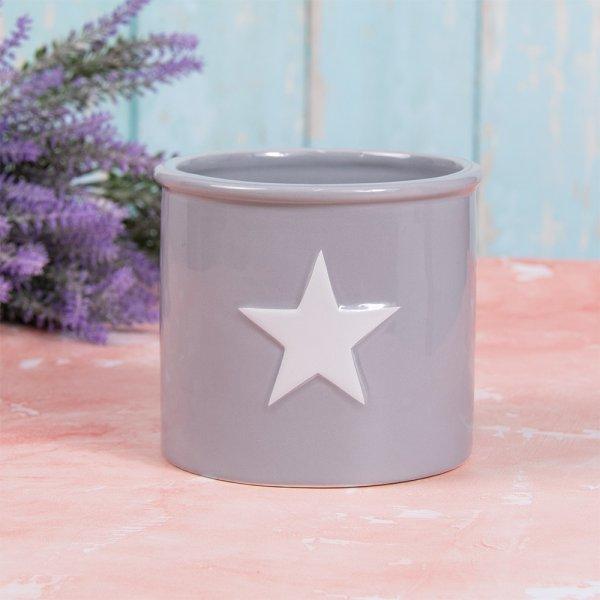 GREY & WHITE STAR PLANT POT S