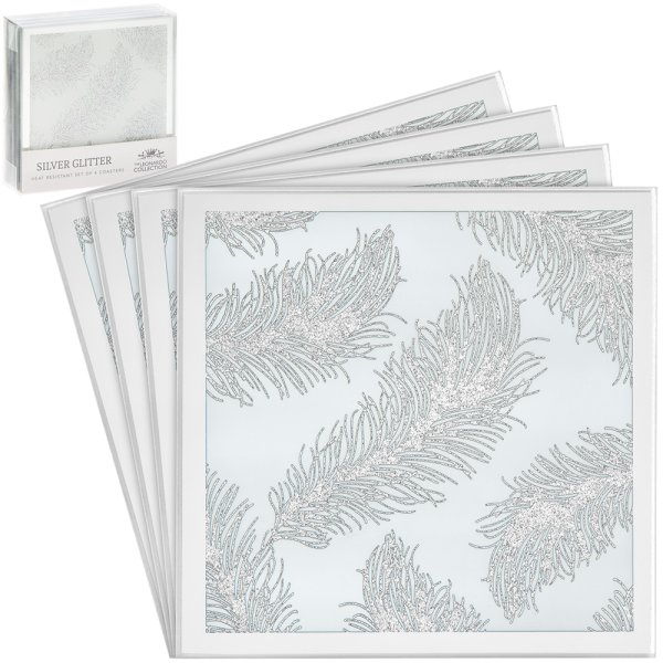 WHT FEATHER MIRROR COASTERS 4S