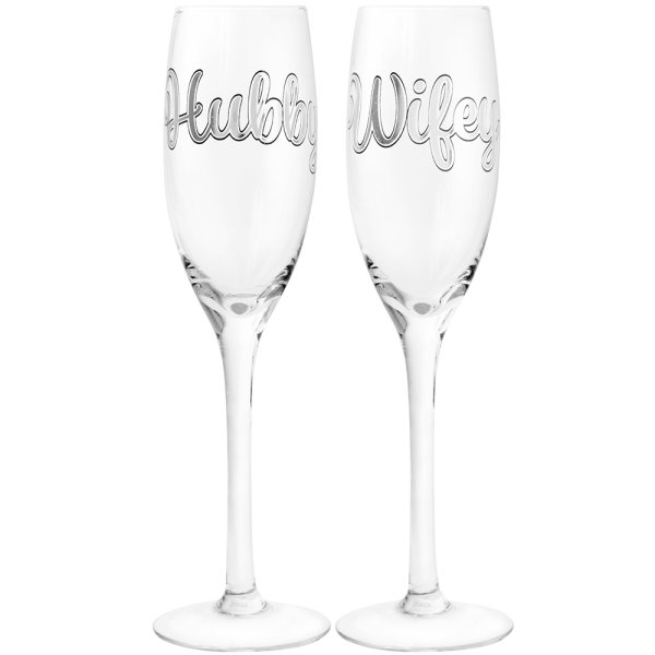 HUBBY & WIFEY FLUTES SET OF 2