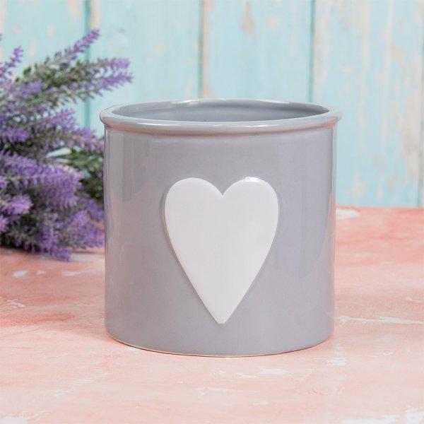 GREY & WHITE HEART PLANT POT L
