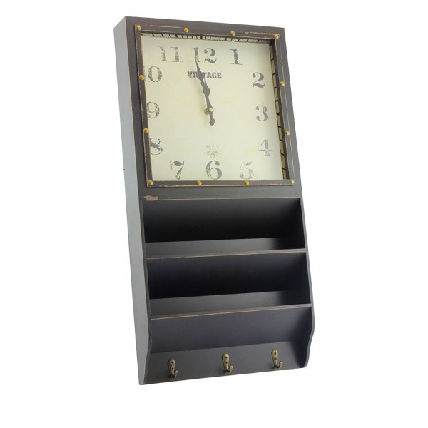 CLOCK & LETTER RACK BLACK