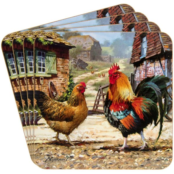 COCKEREL & HEN COASTERS SET 4