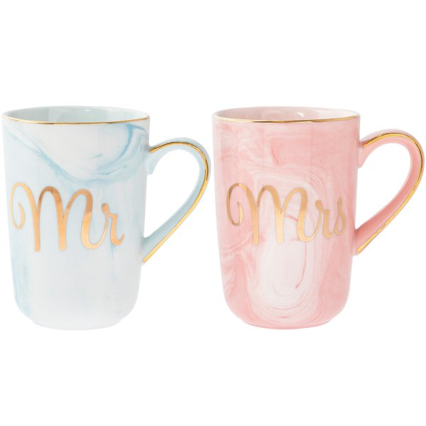 MARBLE&GOLD MR & MRS MUGS 2S