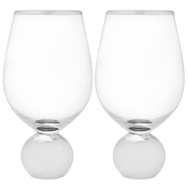 SILVER STEMLESS WINE GLS SET 2