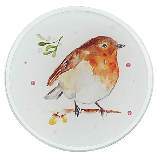 WINTER ROBINS CANDLE PLATE 10C