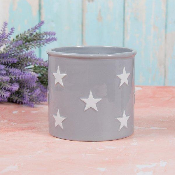 GREY & WHITE STARS PLANT POT L
