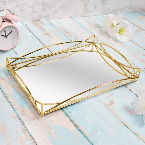GOLD CRYSTAL TRAY 35X23 CM