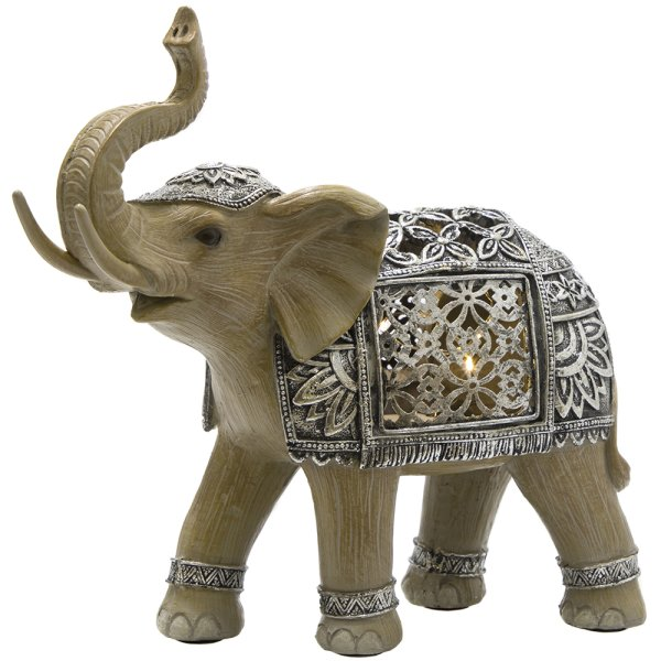 LED SILVER ELEPHANT MED