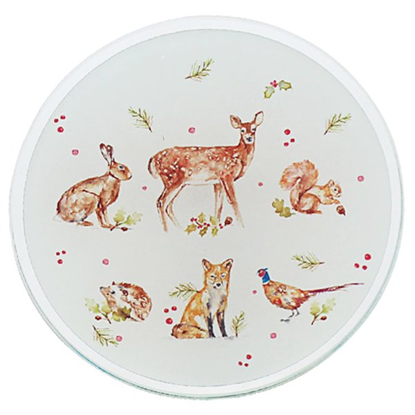 WINTER FOREST CANDLE PLATE 10C