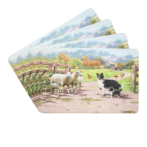 COLLIE & SHEEP PLACEMATS SET 4
