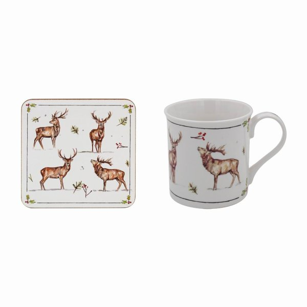 WINTER STAGS MUG & COASTER