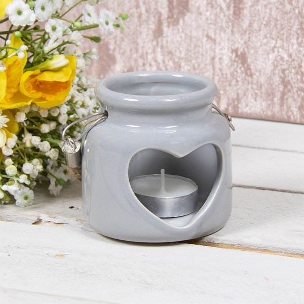 HEART CANDLE HOLDER GREY 8CM