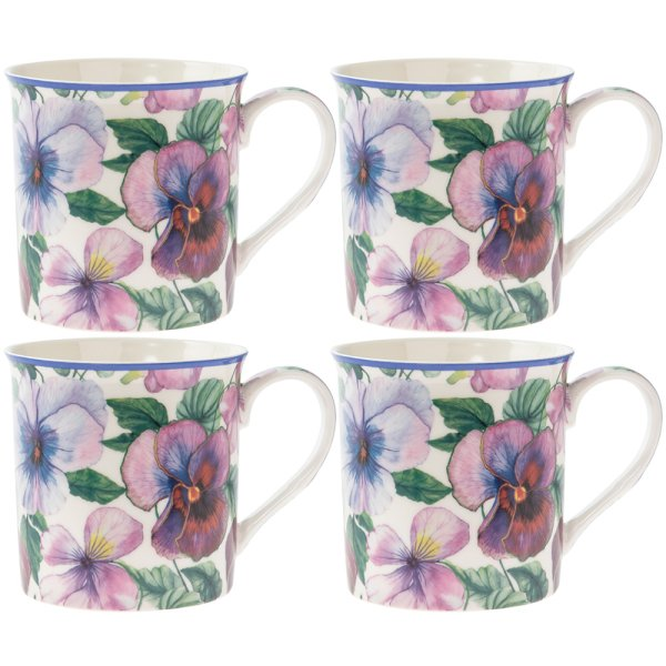 PANSY MUGS 4 SET